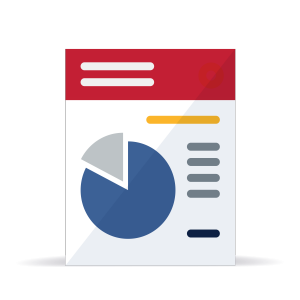 Page with pie chart and reports icon illustration
