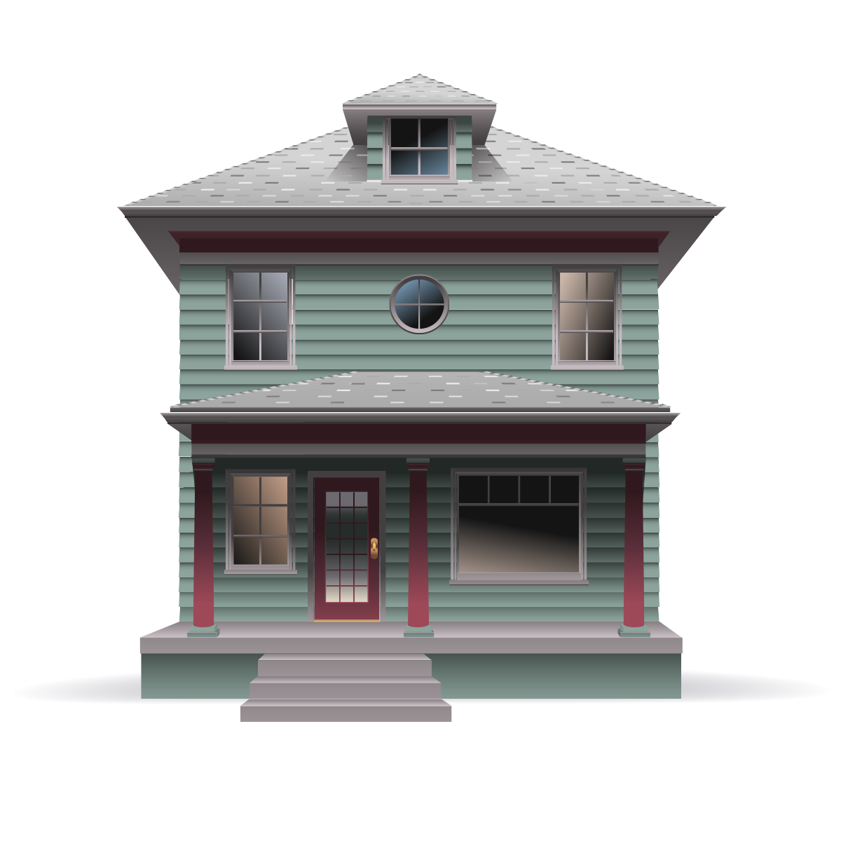 Green two story house with grey shingles and red beams illustration