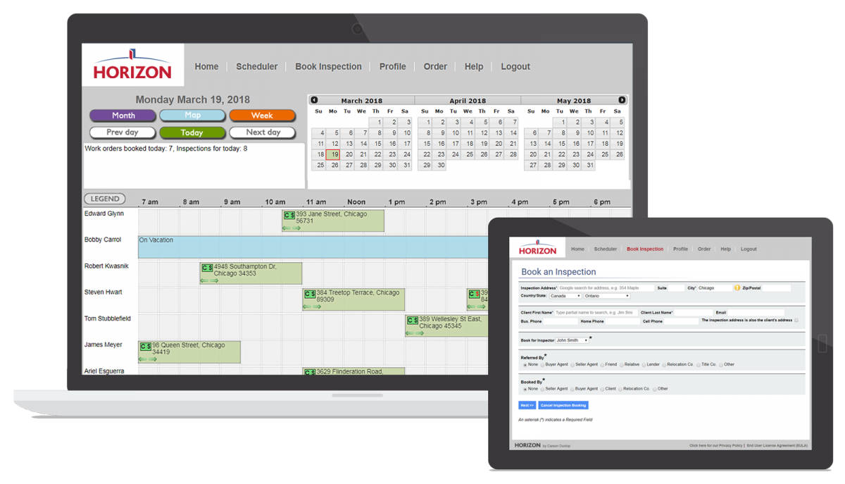Horizon booking inspection software shown on a desktop and tablet