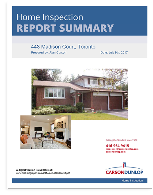 Carson Dunlop Seller's home inspection report summary cover