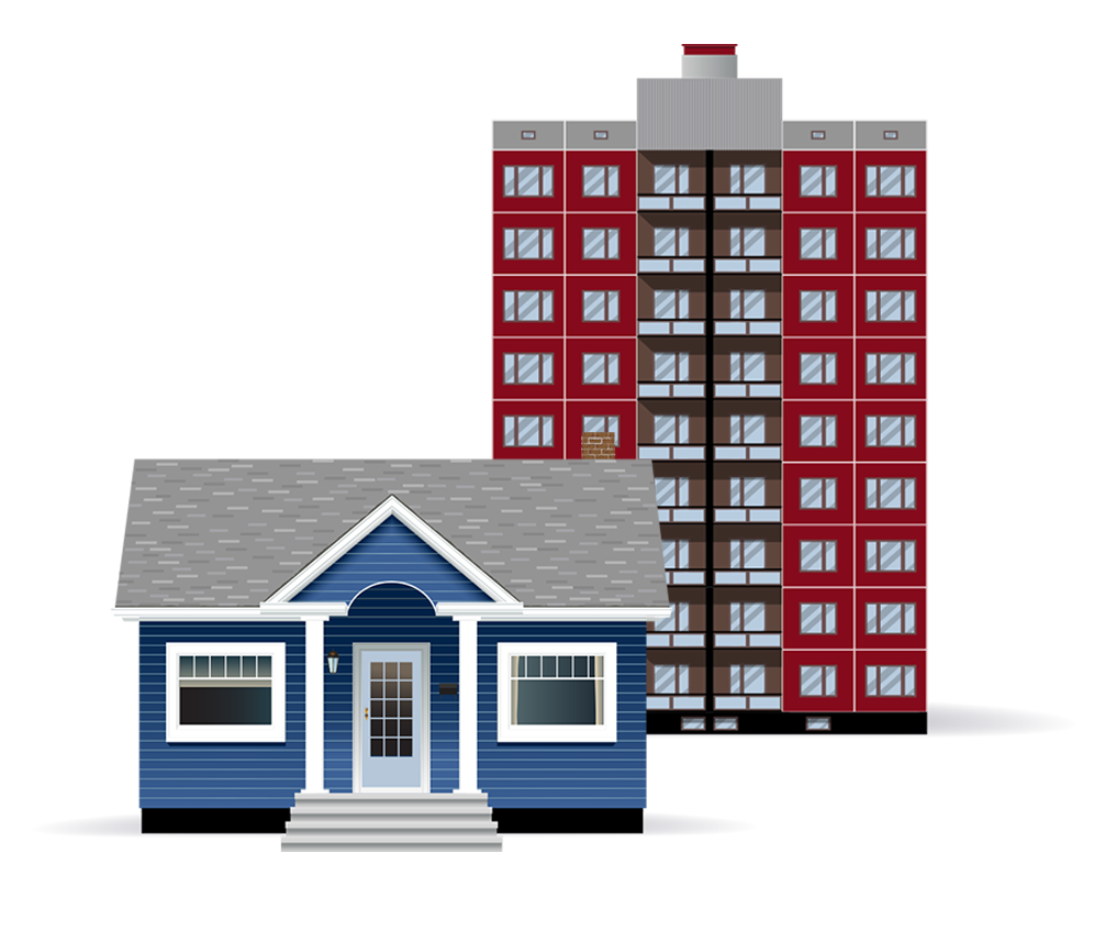 Dark blue bungalow with grey roof and white trim illustration in front of a red condominium illustration