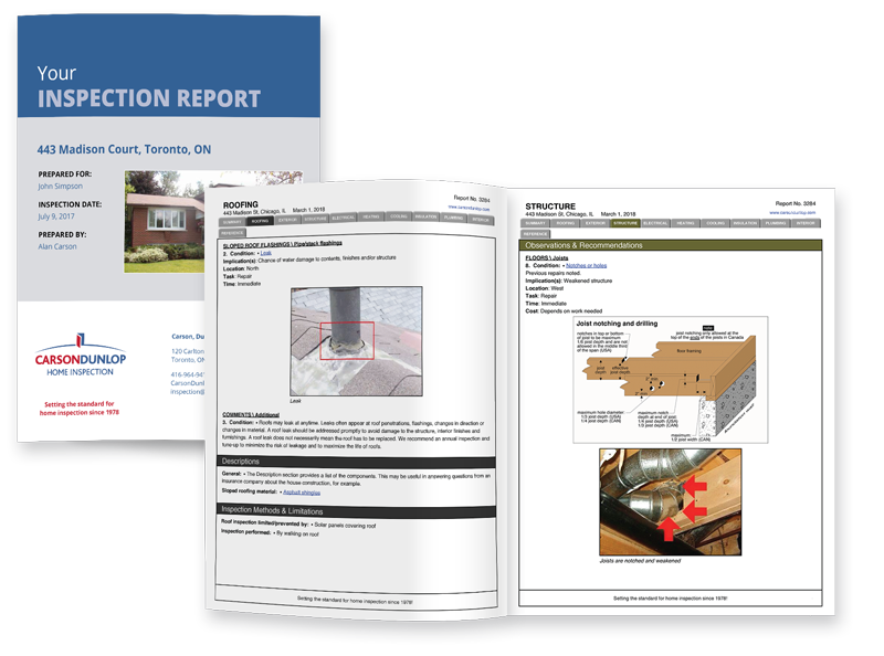 Carson Dunlop Buyer's and Seller's home inspection report sample