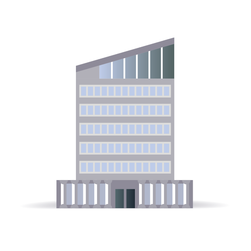 Grey commercial office building illustration