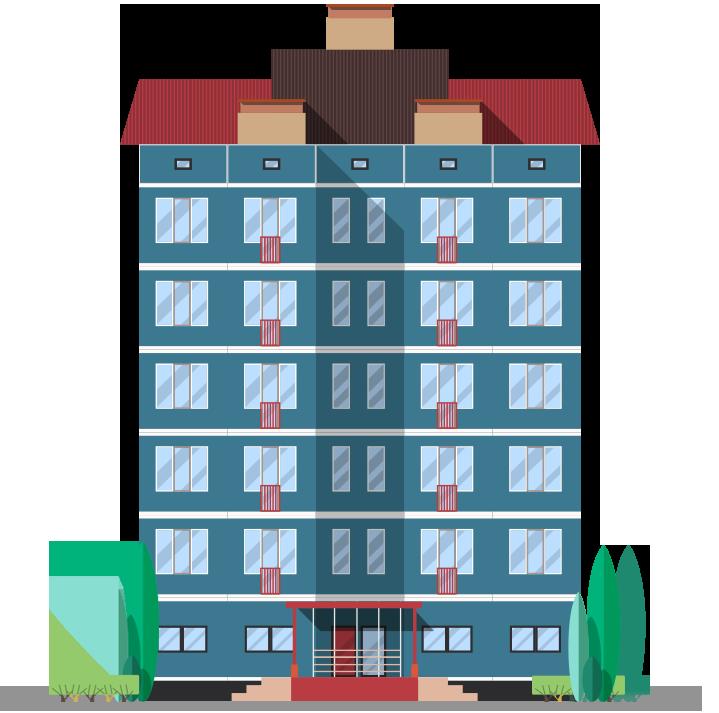 Blue condominium illustration with red roof