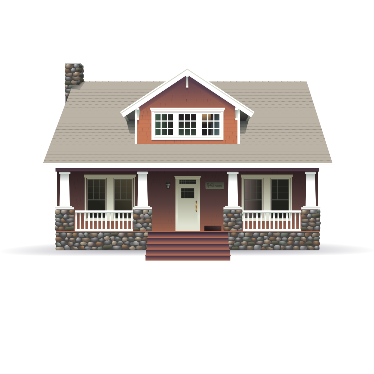 Brown bungalow house with beige roof and stone porch illustration