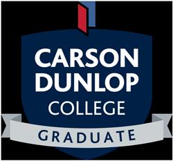 Carson Dunlop College Graduate logo in a crest shape