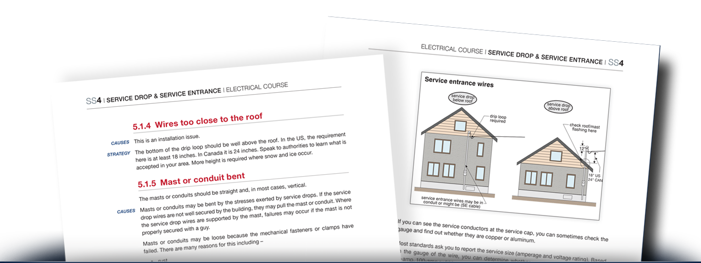 Two pages from the Electrical Course showing common problems