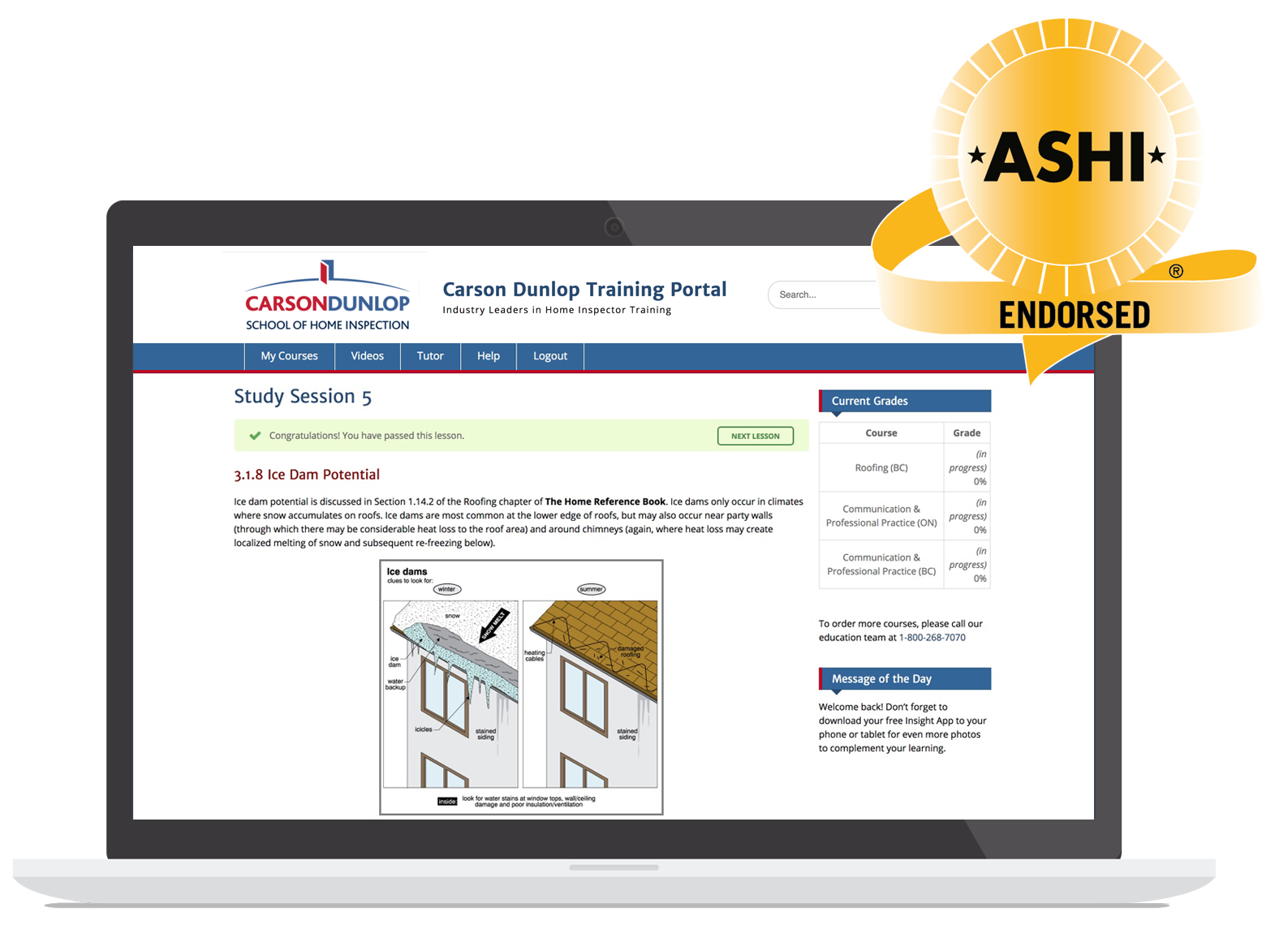A grouping of home inspection training program materials including online display, ASHI endorsed