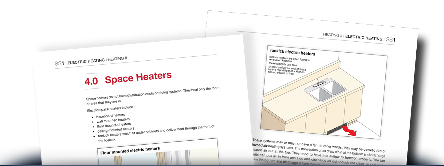 Two pages on space and electric heaters from Heating II textbook